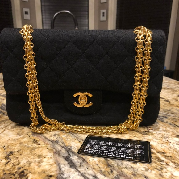 CHANEL Handbags - Chanel Medium Double Classic Flap Jersey Black